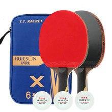 Raqueta de tenis de mesa Huieson con 3 pelotas de tenis de mesa súper potente raqueta de Ping Pong con cubierta 3/5/6 raquetas de tenis de mesa de estrellas