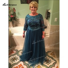 Three Quarter A Line Lace Tulle Long Plus Size Mother Of The Bride Dresses Wedding Party Guest Gown