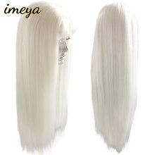FANXITON-perruque Lace Front Wig synthétique lisse   Perruque Lace Front Wig blanche longue en Fiber de haute température pour femmes
