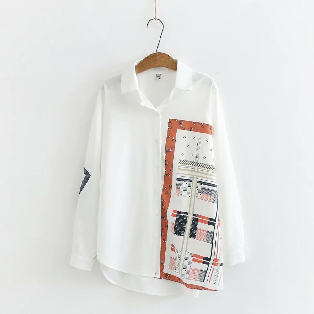Print casual chiffon white shirts 2020 new spring autumn plus size soft loose women blouse female tops oversize