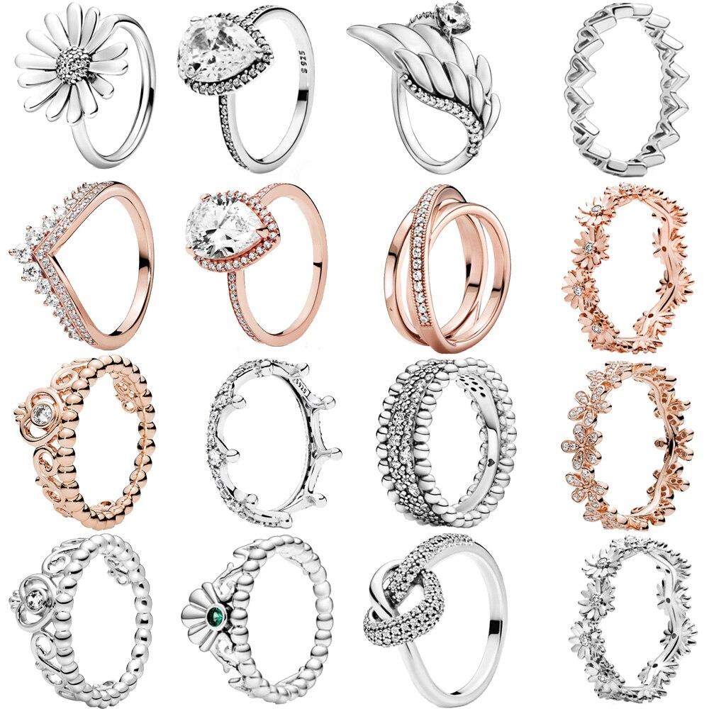 2020 Модные женские серебряные кольца 925 пробы, серебряные ювелирные изделия для годовщины помолвки