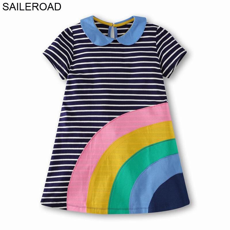 SAILEROAD 2-12 años vestido adolescente para la escuela Vestidos de fiesta juvenil verano chicas grandes vestido de princesa Arco Iris niños Vestidos
