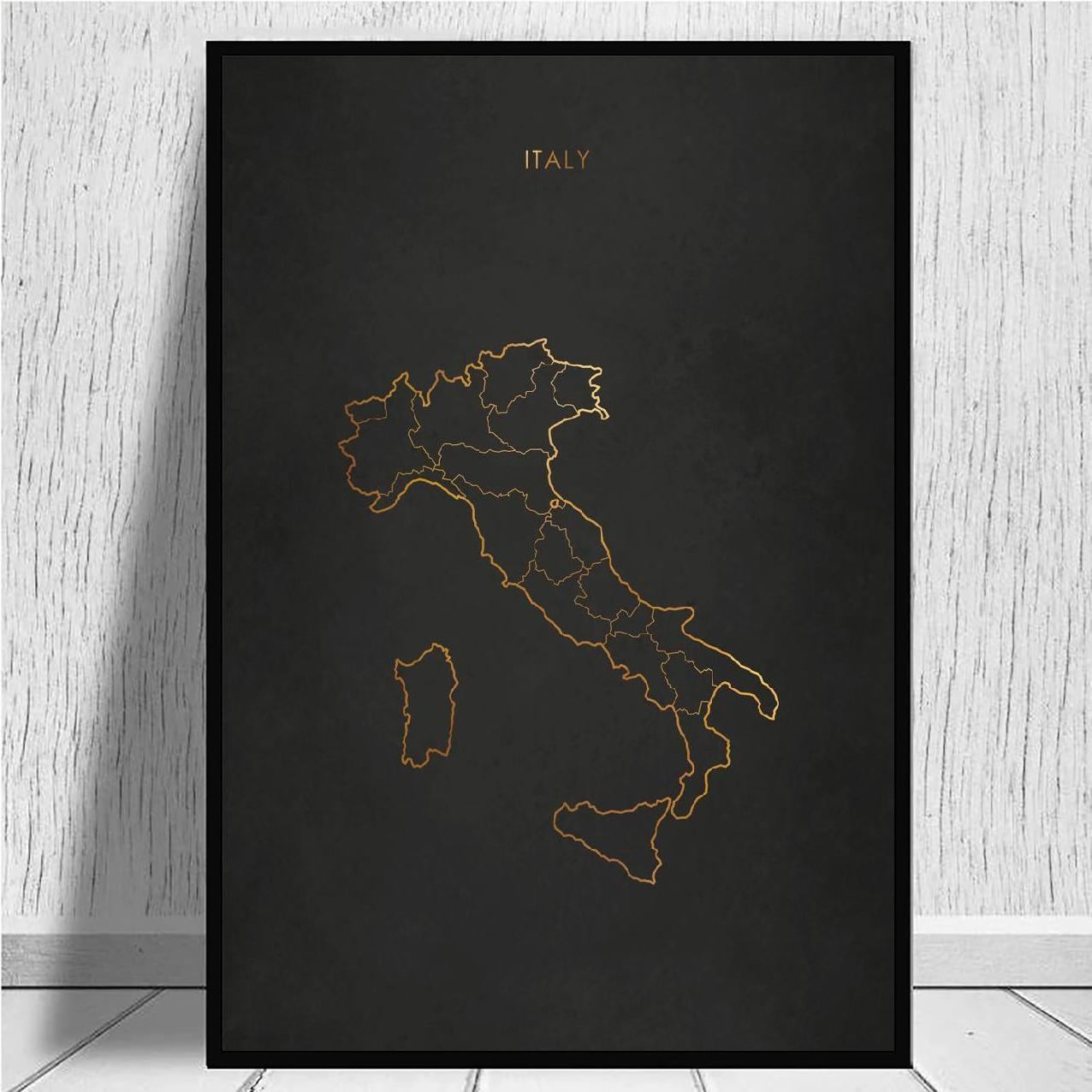 Golden line black Italy Map Canvas Wall Art Print Modern Poster Wall Pictures Living Room Decor