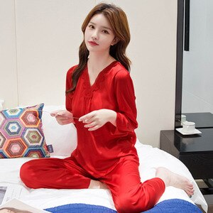 2021 Ice Silk Sexy Pijamas Women Summer Plus Size Thin Clothes Two-piece Set Long Sleeve Spring Autumn V-neck Solid Home Wear