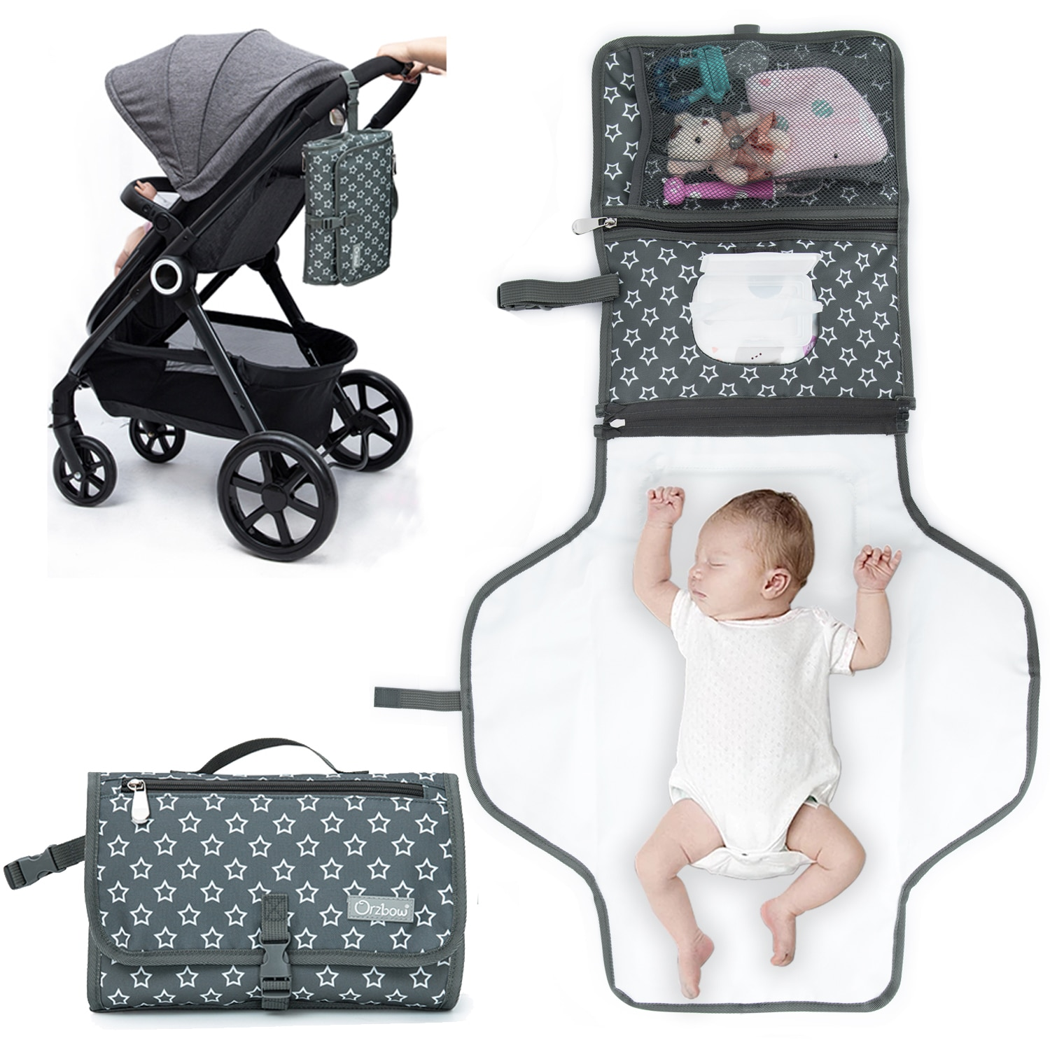 Orzbow 2 In 1 Baby Diaper Changing Mat Mommy Wet Bags Travel Portable Newborn Baby Mattress Diaper Changing Pad Waterproof Clean