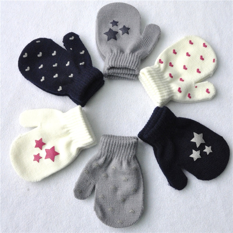 1 Pair Cute Dot Star Heart Pattern Mittens Boys Girls Soft Knitting Warm Gloves For Children Kids