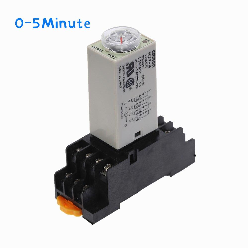 1 pces H3Y-4 relé de tempo do temporizador do atraso ac220v 110v/dc12v 24v 0-5 minutos 14 pinos com base