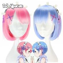 Anime Re la vie dans un monde différent Cosplay de zéro Ram Rem court bleu rose perruque Cosplay déguisement accessoire