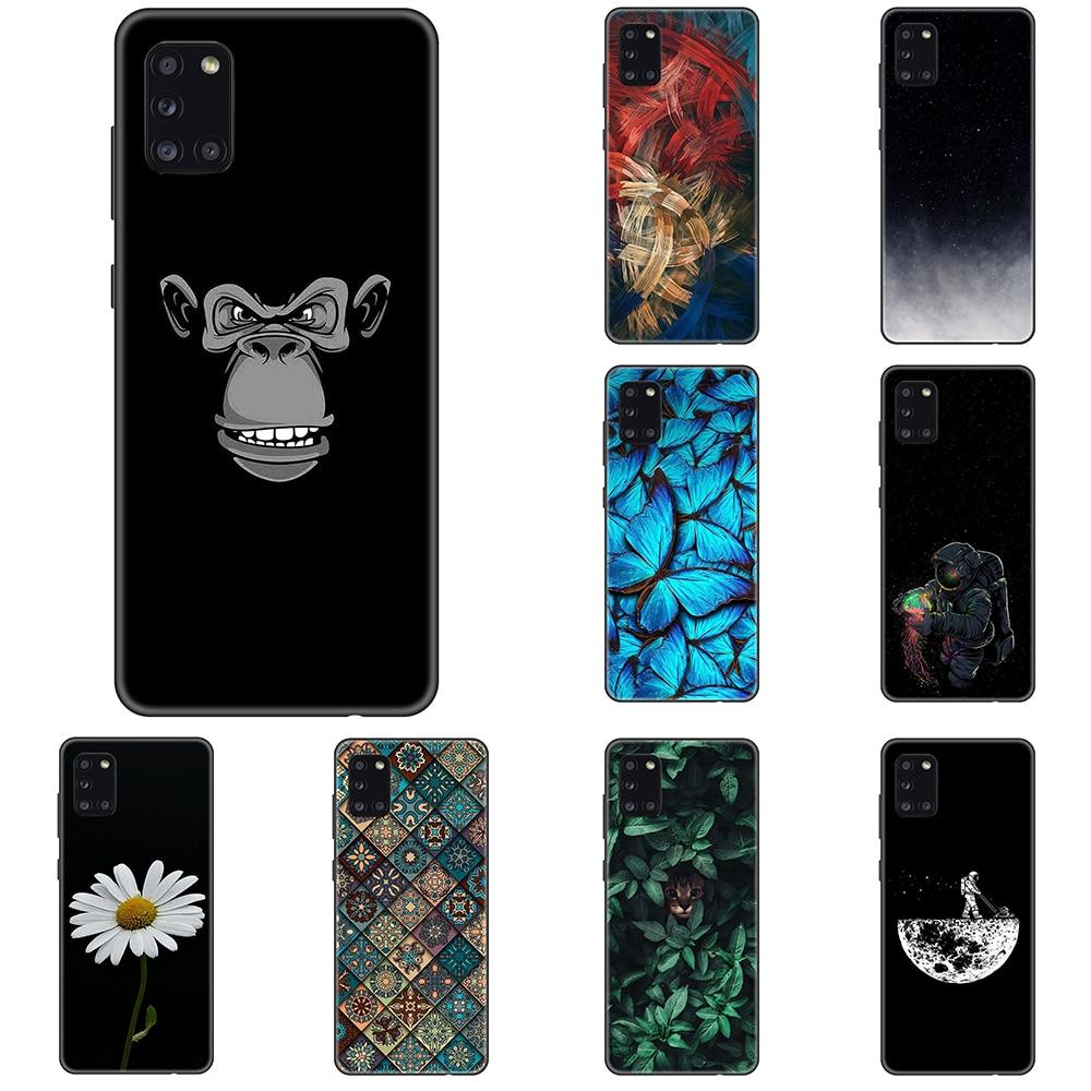 Funda para Samsung Galaxy A31 de silicona Tpu negra, funda de lujo para teléfono de animales A la moda para Galaxy A 31 360, funda protectora completa