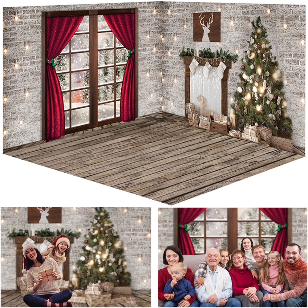Christmas Window Snow Photography Backdrops White Brick Wall Red Curtains Family Portrait Photocall Background Photo Studio