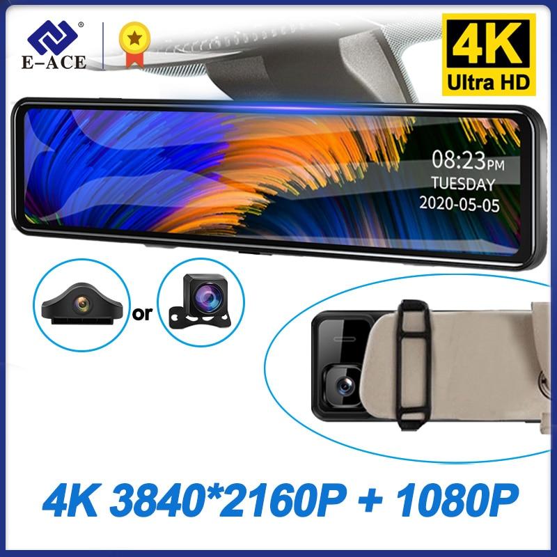 """E-ACE A46P 12 """"Автомобильный видеорегистратор 4K 3840*2160P видеорегистратор зеркало заднего вида видеорегистратор Sony IMX335 двойной объектив Автомобильная камера парковочный монитор"""
