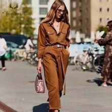 Femmes Denim Sexy combinaison barboteuse à manches longues ceinture noir blanc kaki femmes jean combinaison femmes Streetwear salopette nouveau
