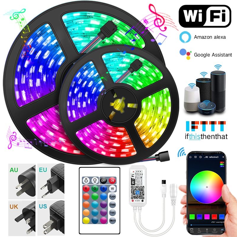 5M-30M LED Strip Lights Bluetooth WIFI RGB DC 12V LED 5050 SMD Ribbon diode tape Bluetooth WIFI Phon