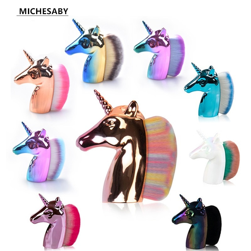 6-Color Unicorn Makeup Brush, Rose Gold Colorful Loose Powder Brush, Horse Head Nail Brush, Creative