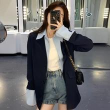 Overcoat Women  Spring Autumn 2021 Loose Design Sense Casual Suit Jacket Women Temperament Fake Two-