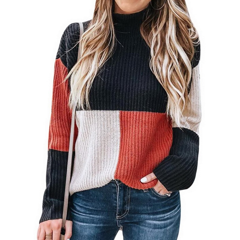 NIBESSER nuevo Otoño Invierno moda mujer tejido Plaid Patchwork suéter cuello alto manga larga suéter femenino Casual Streetwear