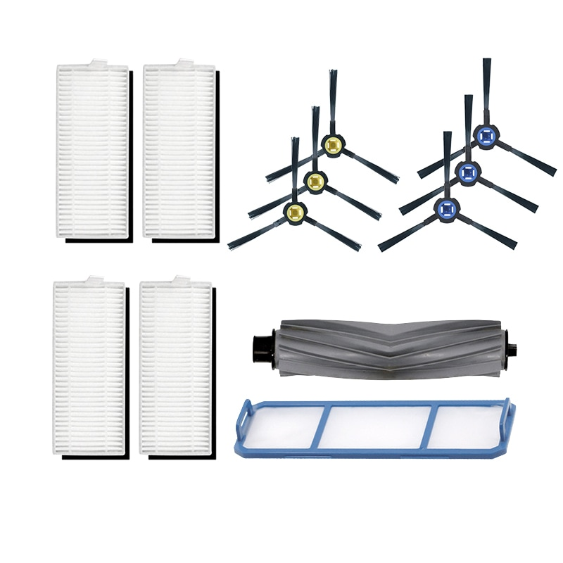 12 Uds cepillo de goma Robot + filtro para Ilife A7 A9S reemplazo de barredora limpieza de pisos accesorios de aspiradora