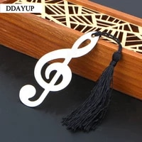 new hollow musical notes bookmarks vintage chinese metal with mini greeting cards tassels pendant gift school bookmark