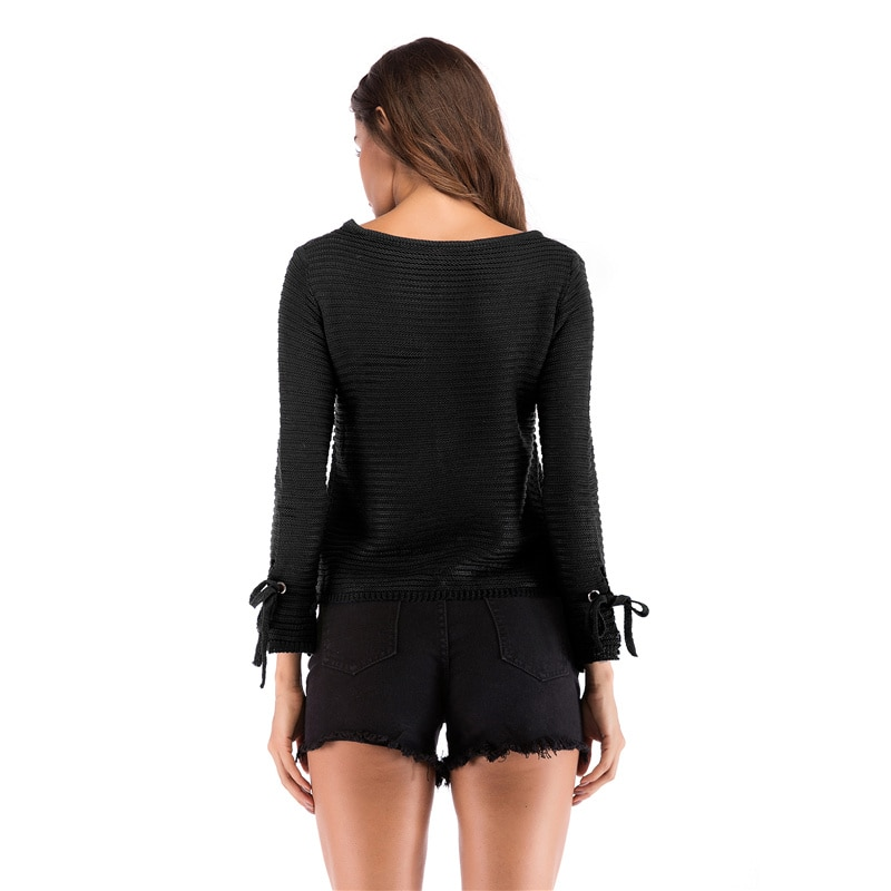 Women New Fashion Autumn Winter Simple Casual Solid Elegant Sweatshirts Outwear With Long Sleeve o-neck Tie Cool Streetwear