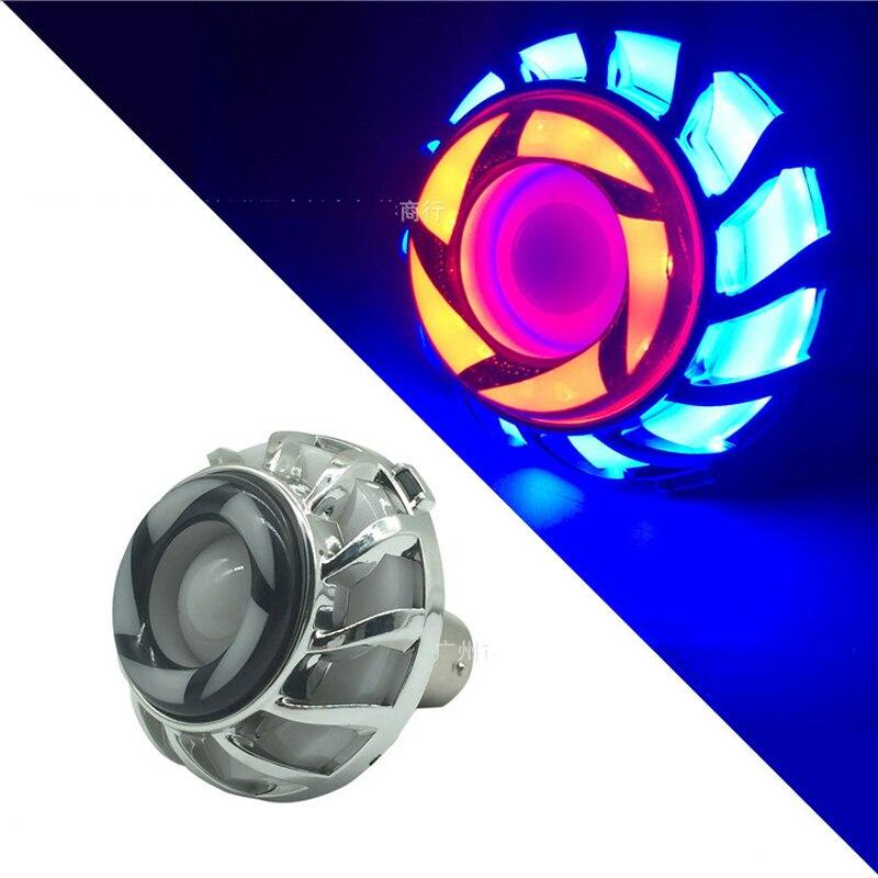 1PC Angel Eye Flash Motorcycle Headlight Tail Brake Rear Lights LED Motorbike Accessories Universal Lamp