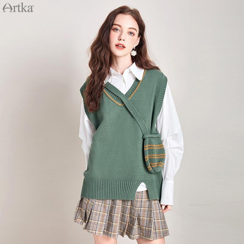 ARTKA 2019 otoño invierno nuevo suéter para mujer estilo universitario suéter tejido chaleco suelto cuello en V suéter con bolsillo WB10299D