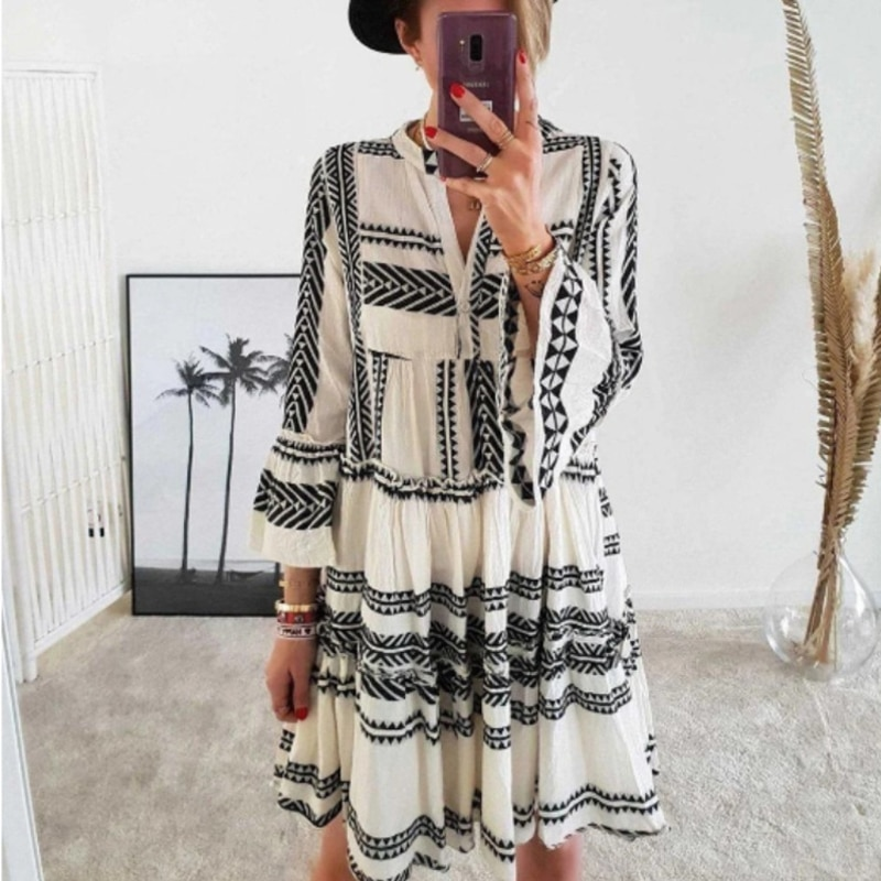 Women Casual Dress Summer Bodycon Dress Mini Dress Fashion Print Bohemian Lady V-Neck Beach Style Dr