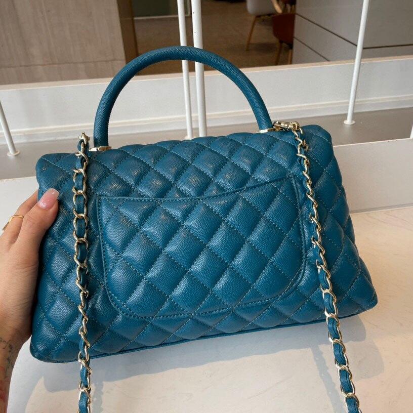2021 الأزرق عالية الجودة جلد المرأة باليد حقيبة ساعي الوجه و شعرية تصميم كبار المصنعين المبيعات المباشرة