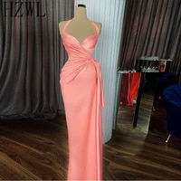 2020 coral satin prom dresses halter mermaid draped top formal evening dresses 2020 customized cheap party gowns vestidos