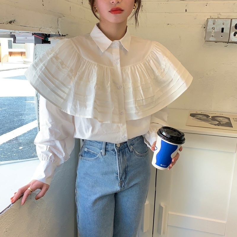 H7b2d80a432284bf3b74a530bcebad07bl - Spring / Autumn Turn-Down Collar Long Sleeves Loose Cape Solid Buttons Blouse