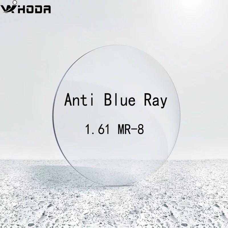 1,61 (0,00 ~-8,00) lentes de gafas asféricas de resina Anti rayos azules MR-8, lente óptica L006 de miopía con prescripción de cilindro