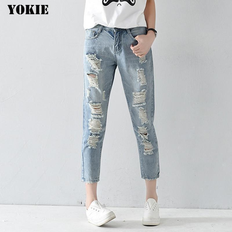 De talla grande 25-32 agujero Mujer Vaqueros pantalones de tobillo longitud pantalones novios para mujer jeans ajustados de mujer