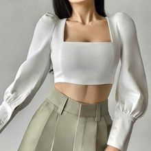 Square Collar Elegant Bodycon Womens Blouse White Slim Puff Sleeve Tops Office Lady Shirt Autumn Spr