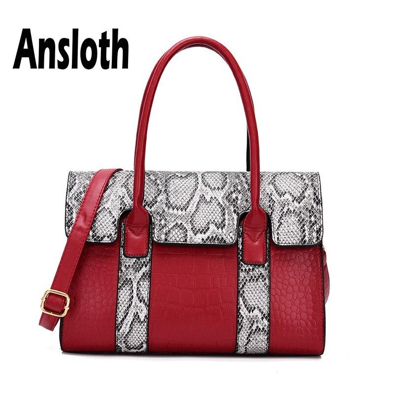 Ansloth Crocodile Pattern Handbag Women Large Capacity Shoulder Bag Ladies Casual Handle Bag Female PU Leather Tote Bag HPS662