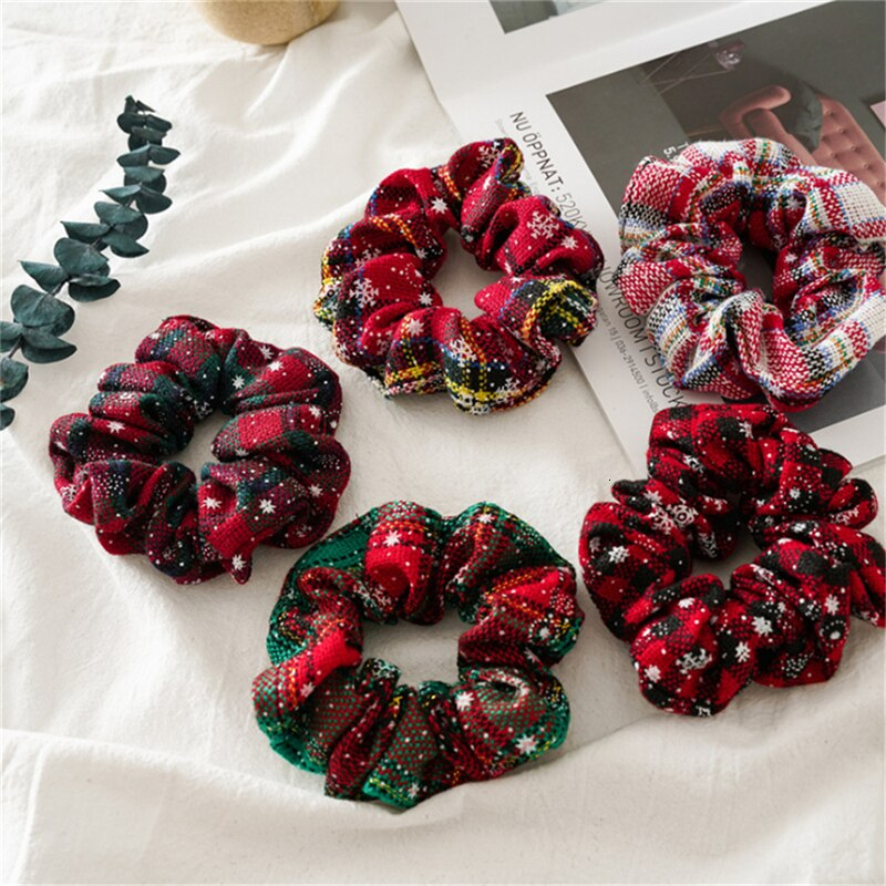 Navidad Scrunchies para niñas Cola de Caballo titular de las mujeres anillos de pelo de goma elástica del pelo diadema accesorios de tela para el cabello