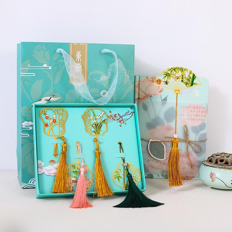 Clásico estilo chino creativo lindo recorte mini fan marcador de libros metálico marcapáginas regalo retro juego de regalo de 4 piezas