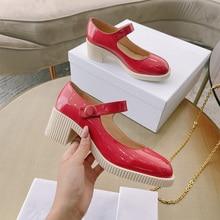 Luxury Mary Jane Shoes Women 2021 New Retro Round Toe Platform Single Shoes Thick Heel High Heel Sma