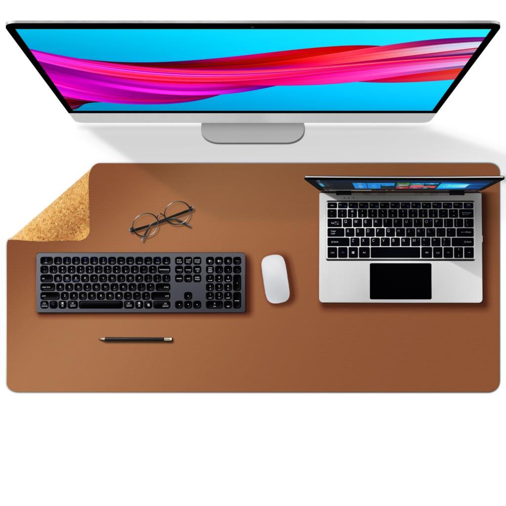 Tapis de bureau en cuir de liège 60x35cm, Double face, pour ordinateur, clavier, jeu, grand format