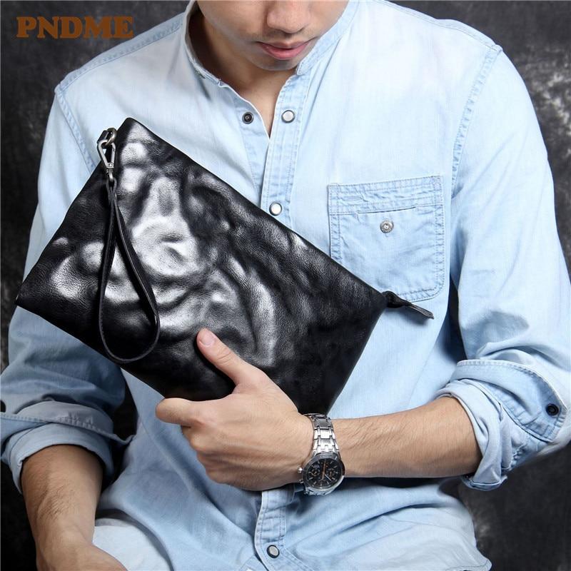 Fashion genuine leather men's women's black clutch bag casual pleated luxury real cowhide phone wallet designer envelope bag