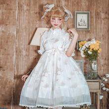 Vestido vintage de princesa japonesa para fiesta del té dulce lolita, vestido victoriano con estampado bonito de lazo de cintura alta, vestido kawaii girl jsk loli cos