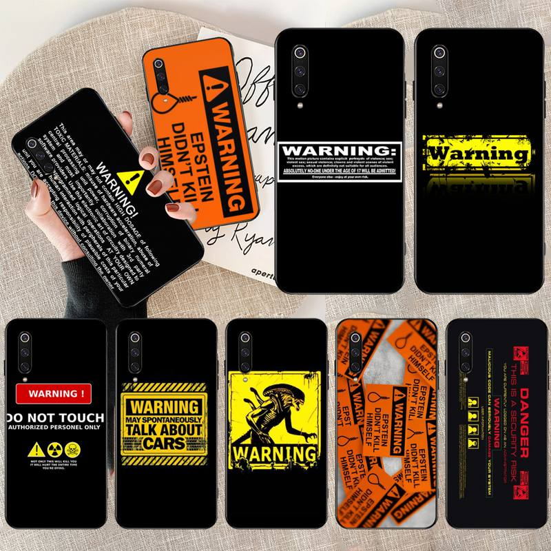 HPCHCJHM Warning DIY Printing Phone Case cover Shell for Xiaomi Mi9 9SE 8SE Pocophone F1 Mi8 Lite