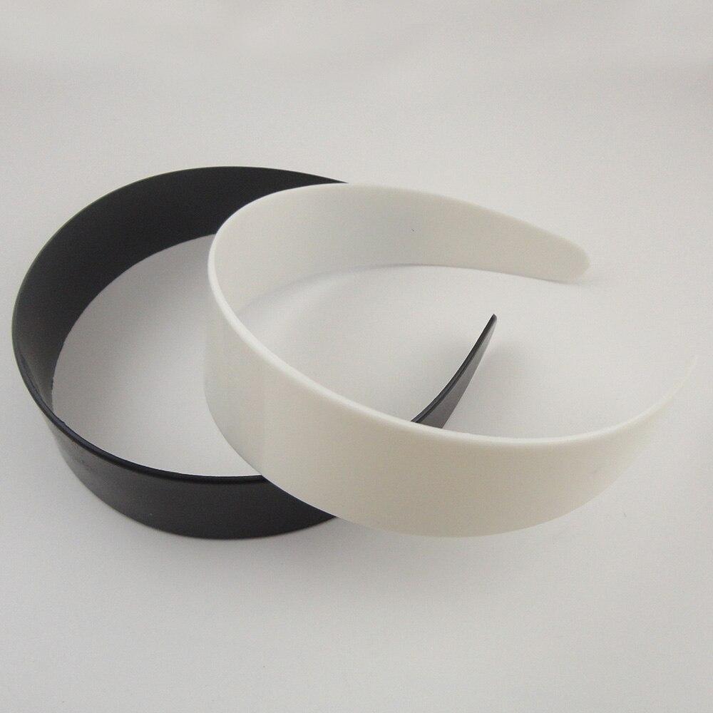2 個 3.8 センチメートル 4.8 センチメートル白無地プラスチックワイドためいいえ歯diyアクセサリー黒生ヘアフープヘアバンド