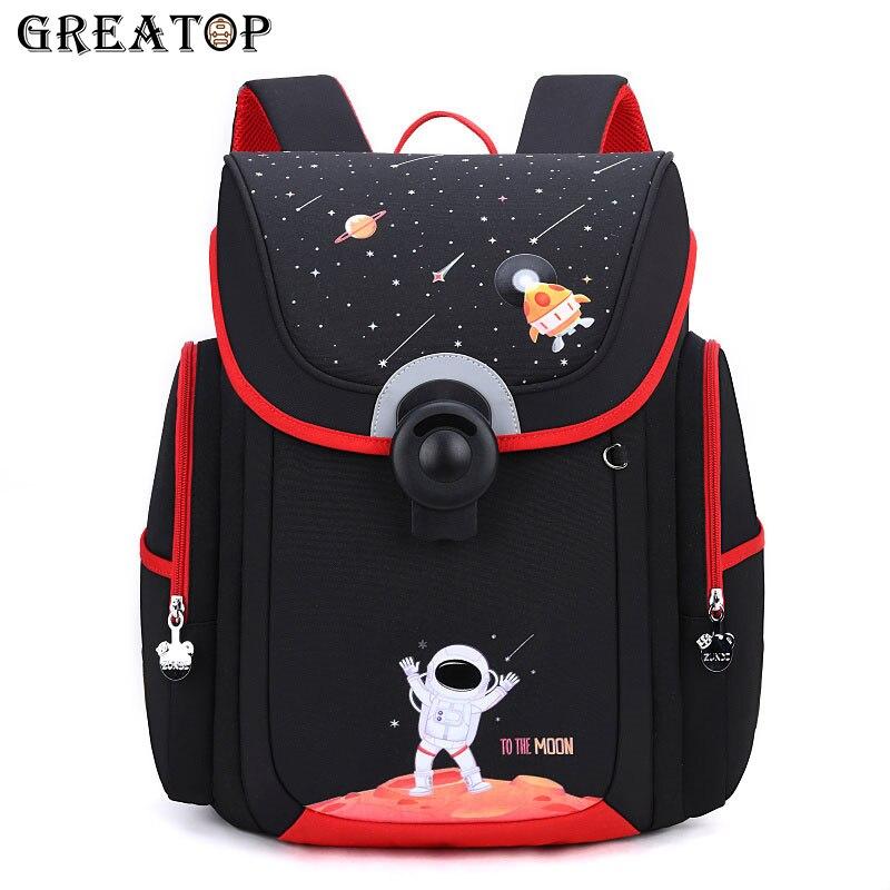 Great op جودة عالية قفل تصميم الحقائب المدرسية رائد الفضاء الطباعة سعة كبيرة الأطفال على الظهر مقاوم للماء الفتيان الفتيات حقيبة