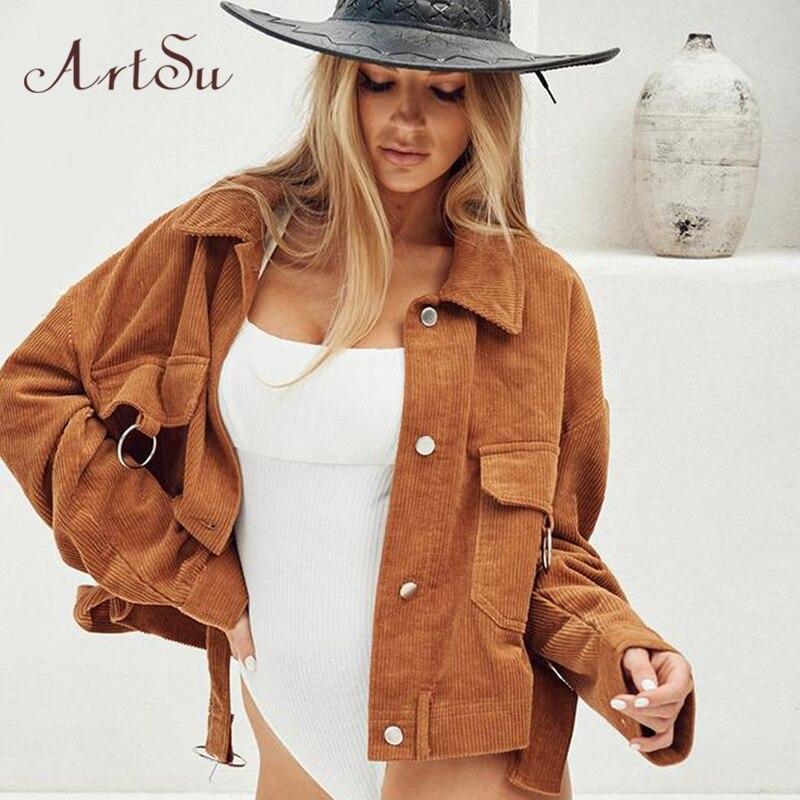 Artsu 2019 Corduroy Jackets Coats Women Harajuku Punk Short Coat Long Sleeve Casual Jacket Pocket Outerwear Winter ASCO60251
