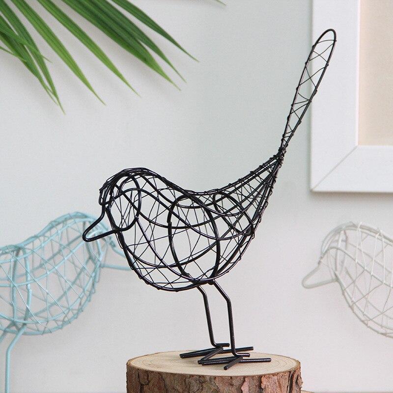 Metal Wire Iron Bird Figurines Abstract Bird Miniatures Vintage Animal Figurine Home Decoration Craft Creative Wedding Birthday