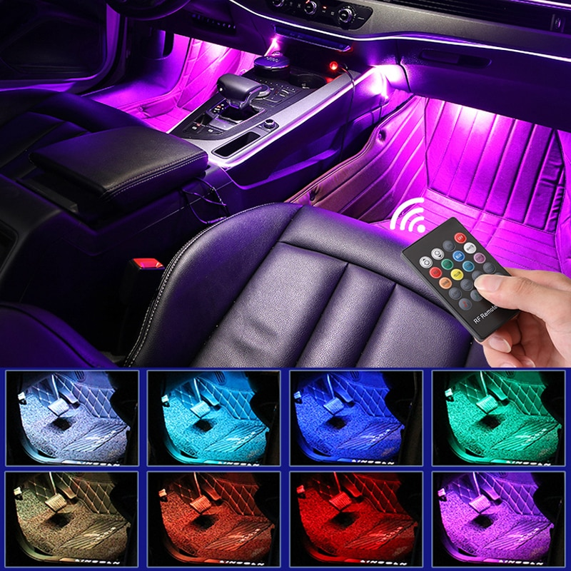LED Car Foot Light Ambient Lamp With USB Wireless Remote Music Control Multiple Modes Automotive Interior Decorative Lights