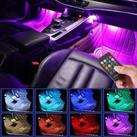 Светодиодная автомобильная лампа для ног с USB беспроводным пультом дистанционного управления музыкой, несколько режимов, автомобильные де...