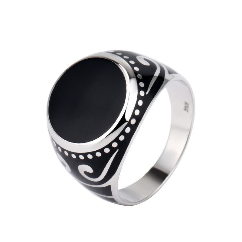 خاتم فضة 925 رجال خاتم فضة ريترو S925 واسعة دوامة نمط نمط خاتم الرجال الفضة مجموعة متنوعة من خواتم للتخصيص