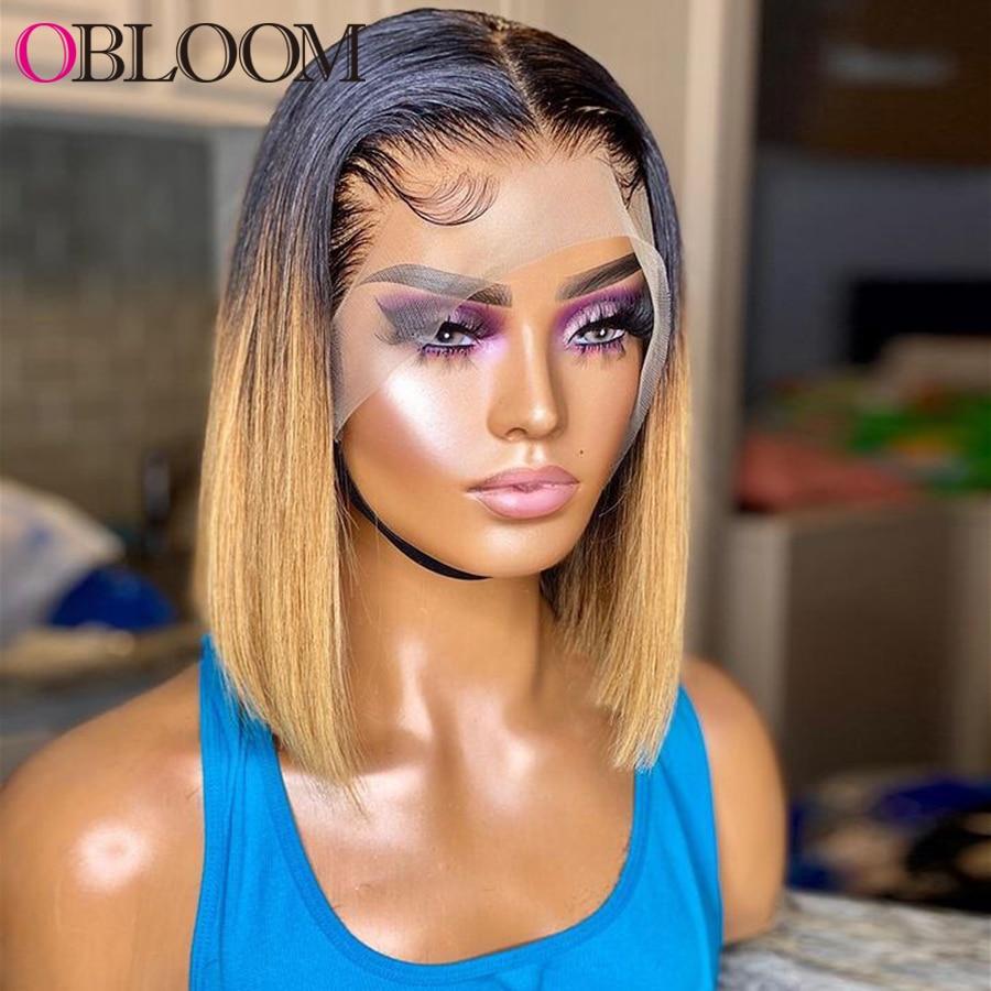 Ombre Honey Blonde Short Bob Wig 13*4 Lace Front Wig Body Wave Human Hair Wigs Pixie Cut Wig Brazilian Hair Wigs For Women