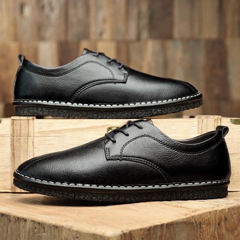 Sapatos de Couro dos Homens do Verão Casuais dos Homens das Sapatilhas dos Homens do Outono Sapatos Mocassins Couro Preto Zapatillas Hombre Clássico Genuíno