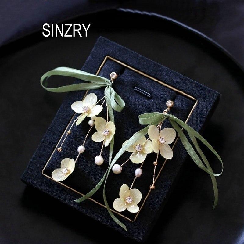 SINZRY nuevos pendientes únicos hechos a mano conservados freshflower dulce exagerada perla bosque gota para mujer